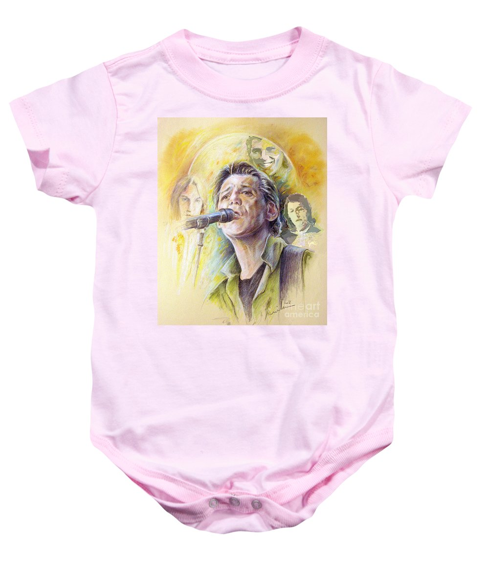 Jeff Christie Baby Onesie featuring the painting Jeff Christie by Miki De Goodaboom