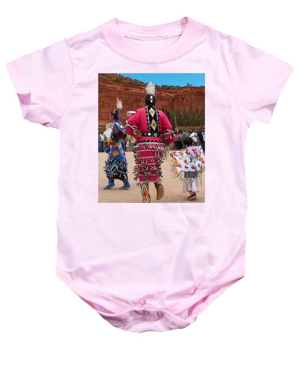 Pow-wow Baby Onesie featuring the photograph Jingle Dress And Fancy Shawl Dancers by Tim McCarthy