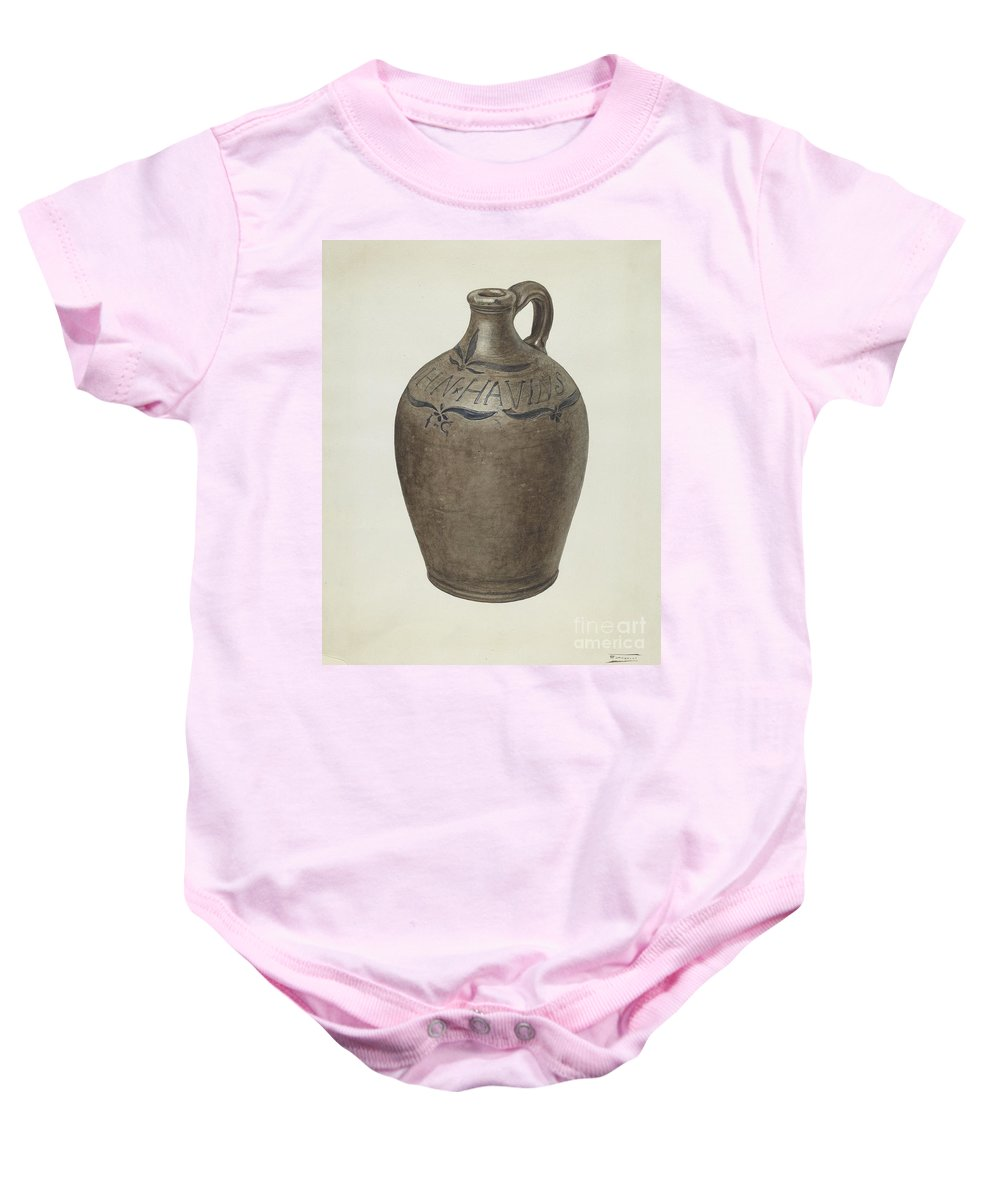 Baby Onesie featuring the drawing Jug by Frank Fumagalli