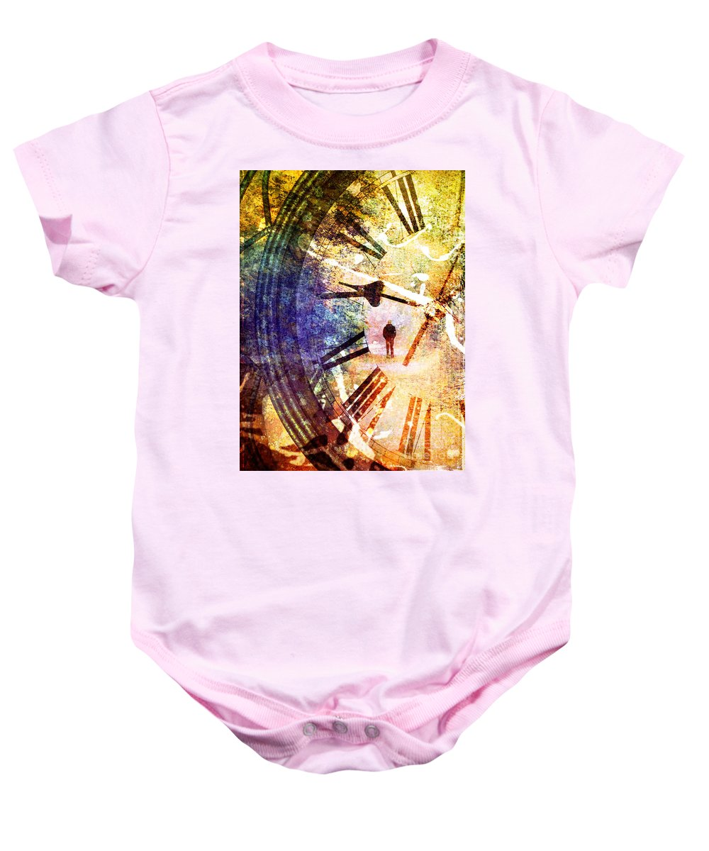 Clock Baby Onesie featuring the photograph June 5 2010 by Tara Turner