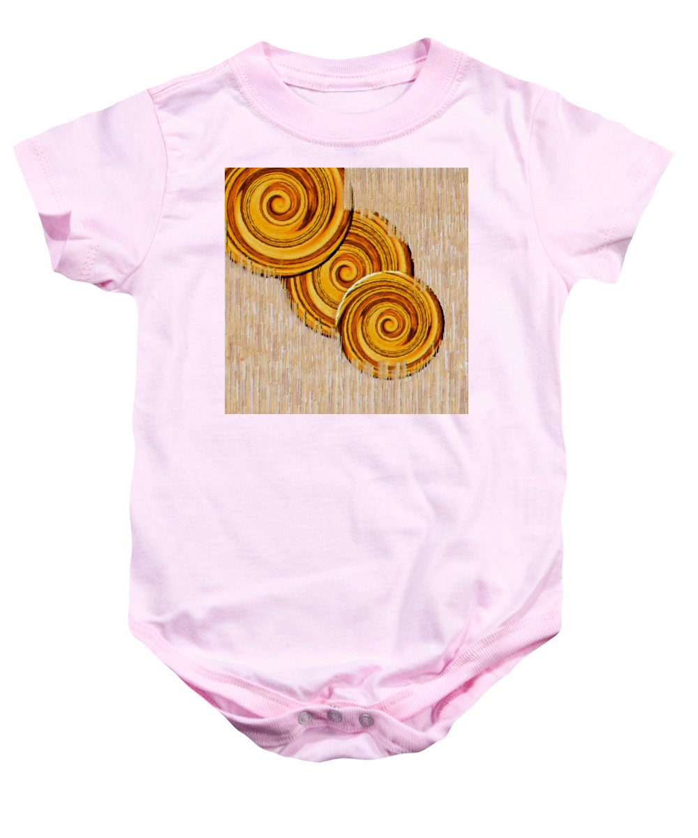 Abstract Baby Onesie featuring the mixed media Just Bread by Pepita Selles