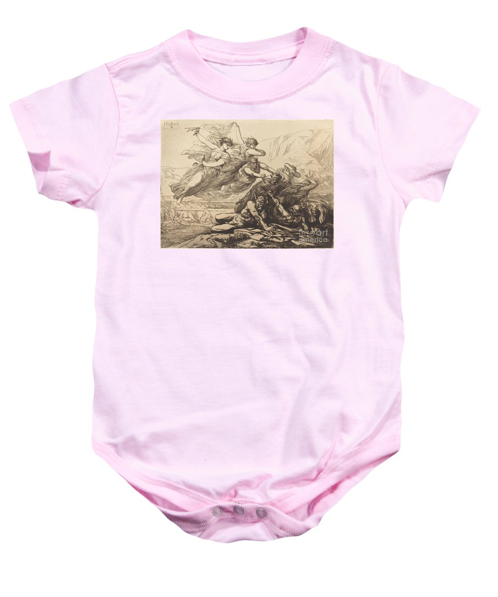 Baby Onesie featuring the drawing Justice, Vengeance, And Truth by Fran?ois-nicolas Chifflart