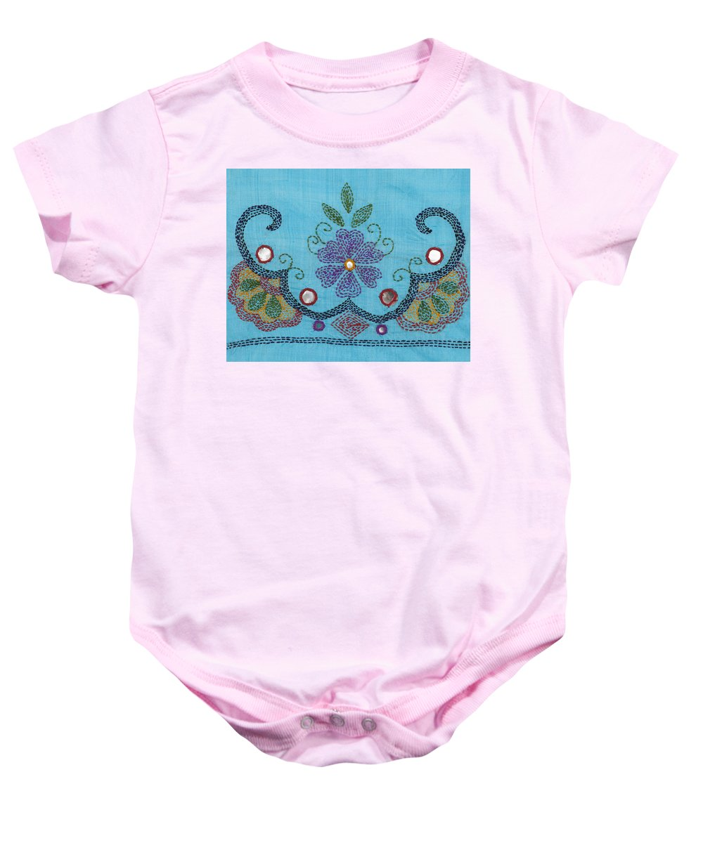 Thread Baby Onesie featuring the painting Kantha Fabric Art on Turquoise Pure Silk by Anannya Chowdhury