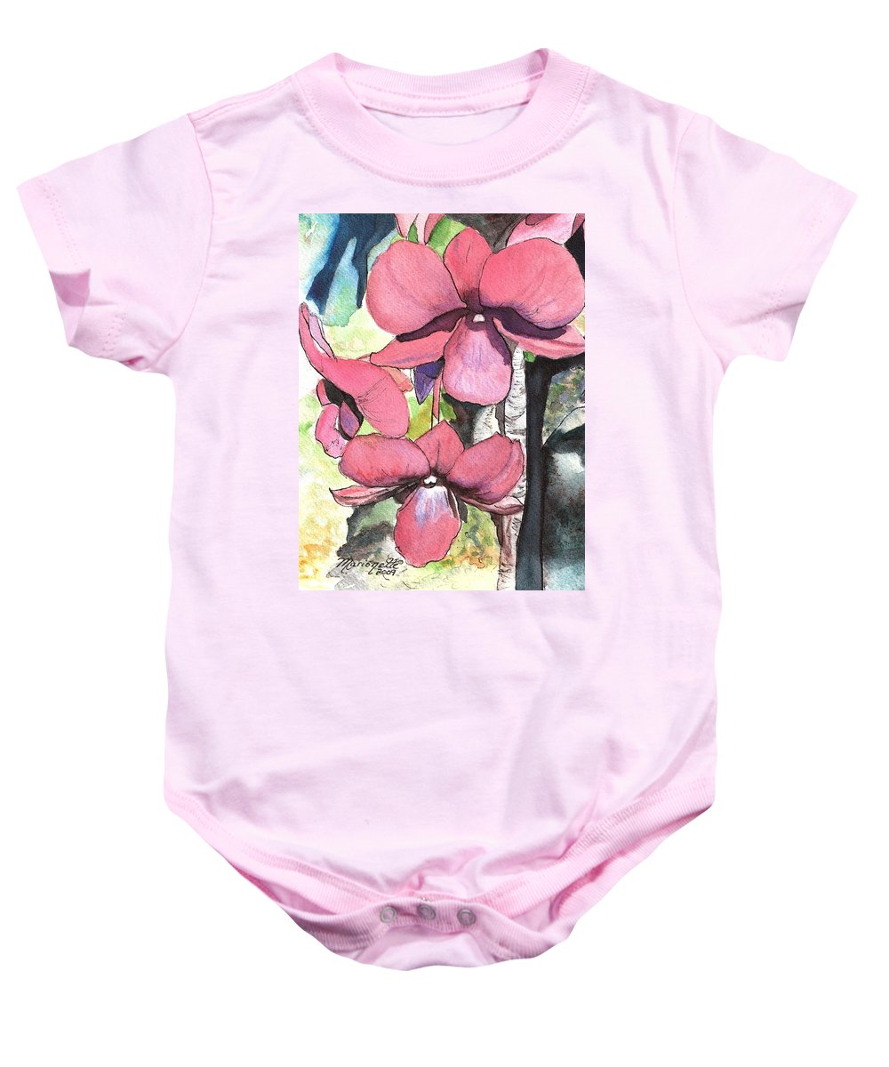 Orchid Baby Onesie featuring the painting Kiahuna Orchids by Marionette Taboniar