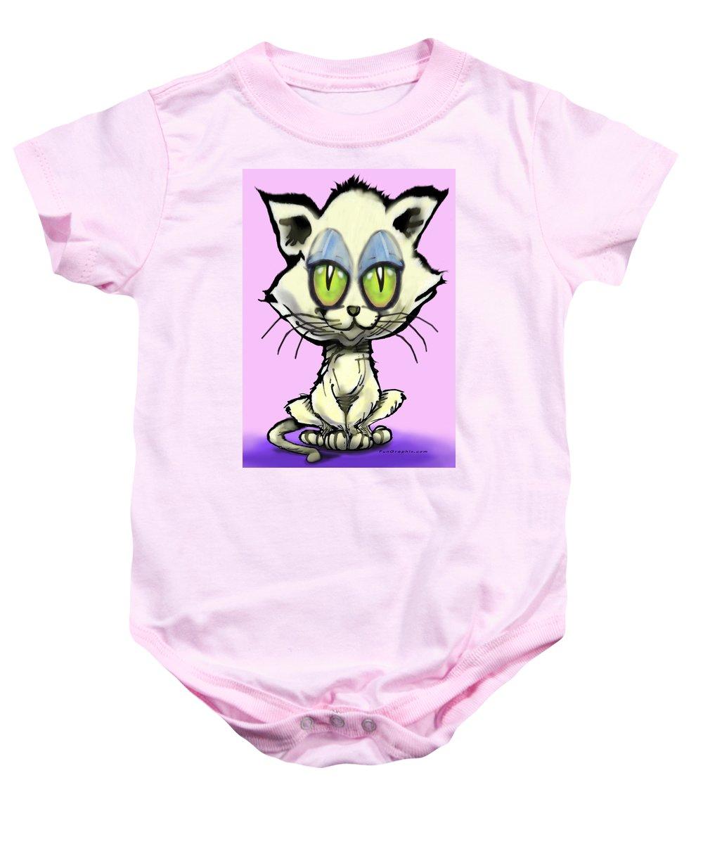 Kitten Baby Onesie featuring the digital art Kitten by Kevin Middleton