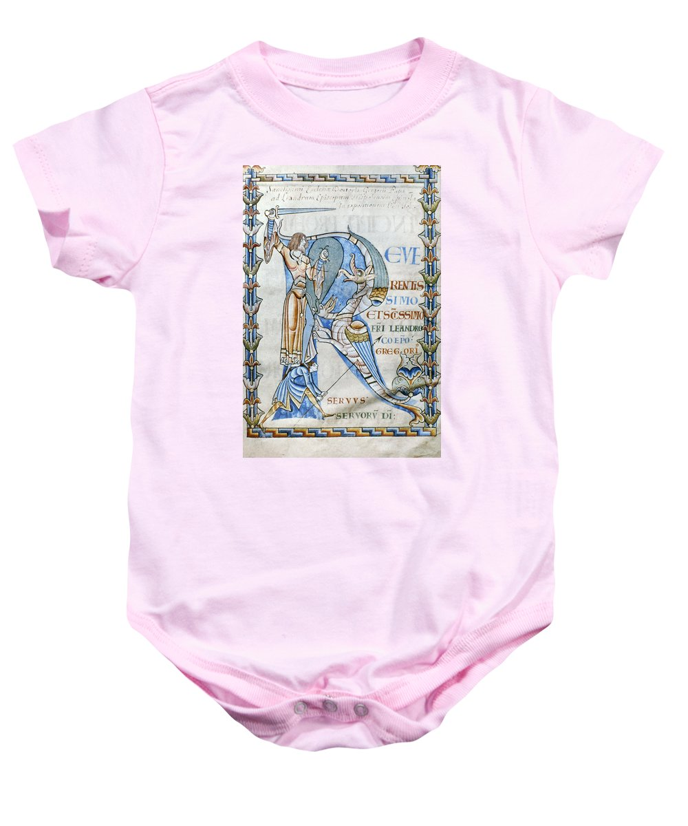 12th Century Baby Onesie featuring the photograph Knight And Monster by Granger