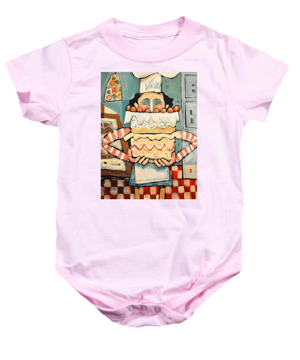 Cake Baby Onesie featuring the painting La Boulanger Francaise by Tim Nyberg