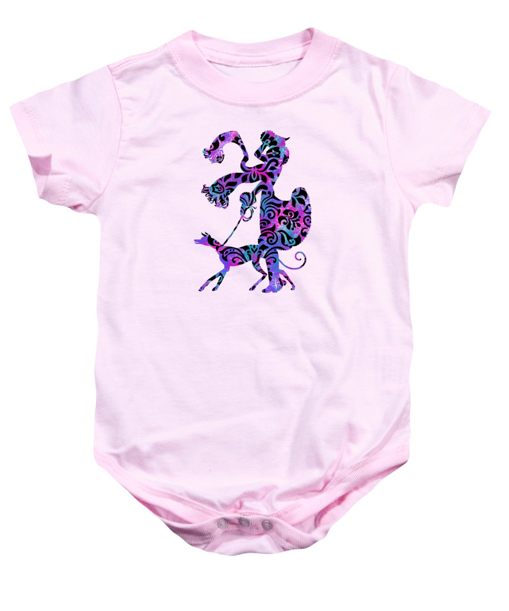 Lady Baby Onesie featuring the digital art Lady Dog Walker Overlay Transparent Background by Barbara St Jean