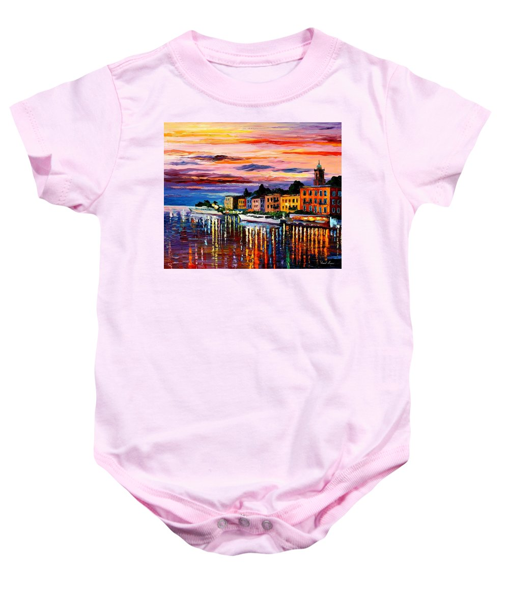 Cityscape Baby Onesie featuring the painting Lake Como - Bellagio by Leonid Afremov