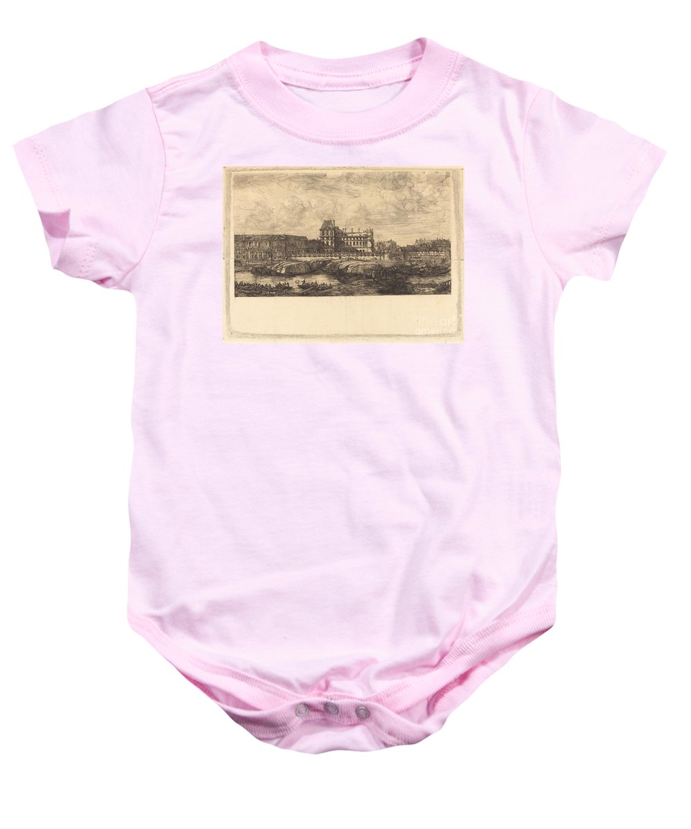 Baby Onesie featuring the drawing L'ancien Louvre D'apr?s Une Peinture De Zeeman, 1651 (the Old Louvre, From A Painting By Zeeman, L651) by Charles Meryon