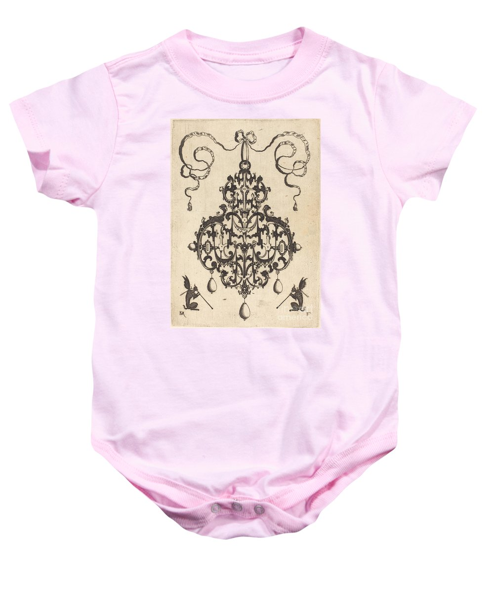 Baby Onesie featuring the drawing Large Pendant, Two Winged Fantasy Creatures With Trumpets At Bottom by Daniel Mignot