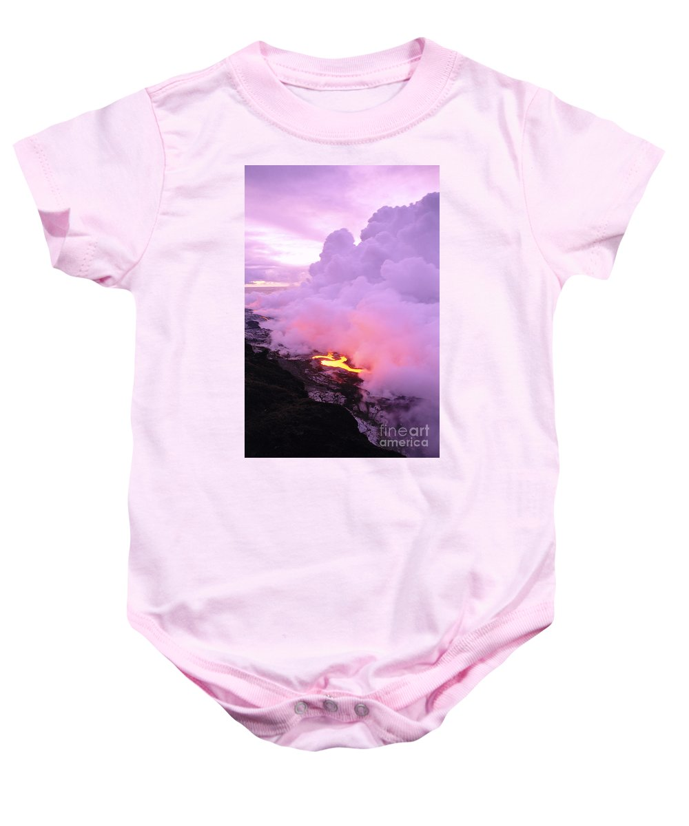 A'a Baby Onesie featuring the photograph Lava Enters Ocean by Peter French - Printscapes