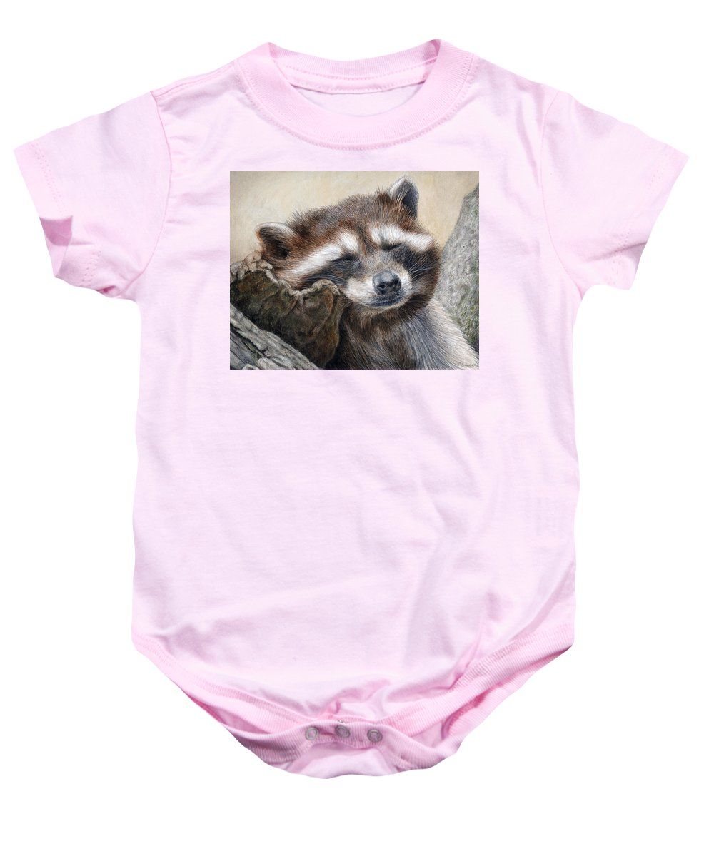 Racoon Baby Onesie featuring the painting Lazy Afternoon by Pat Erickson