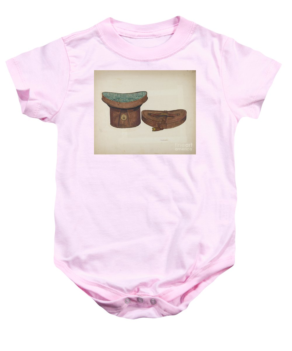 Baby Onesie featuring the drawing Leather Hat Box by Clarence W. Dawson