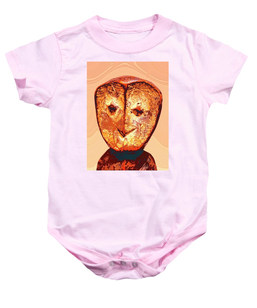 Africa Baby Onesie featuring the mixed media Lega Figure by Dominic Piperata
