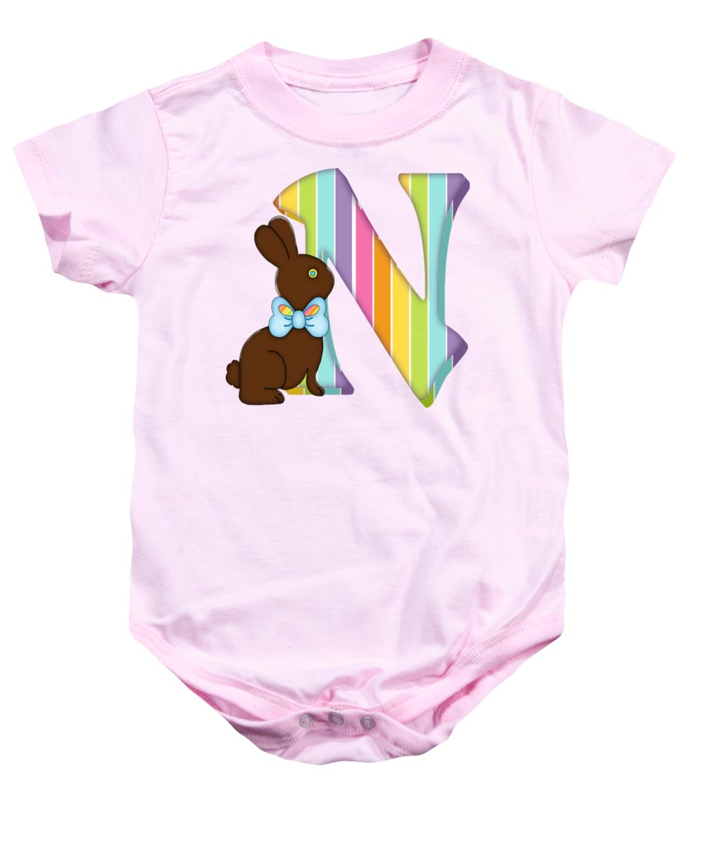 a8266de97 Monogram Baby Onesie featuring the digital art Letter N Chocolate Easter  Bunny by Debra Miller