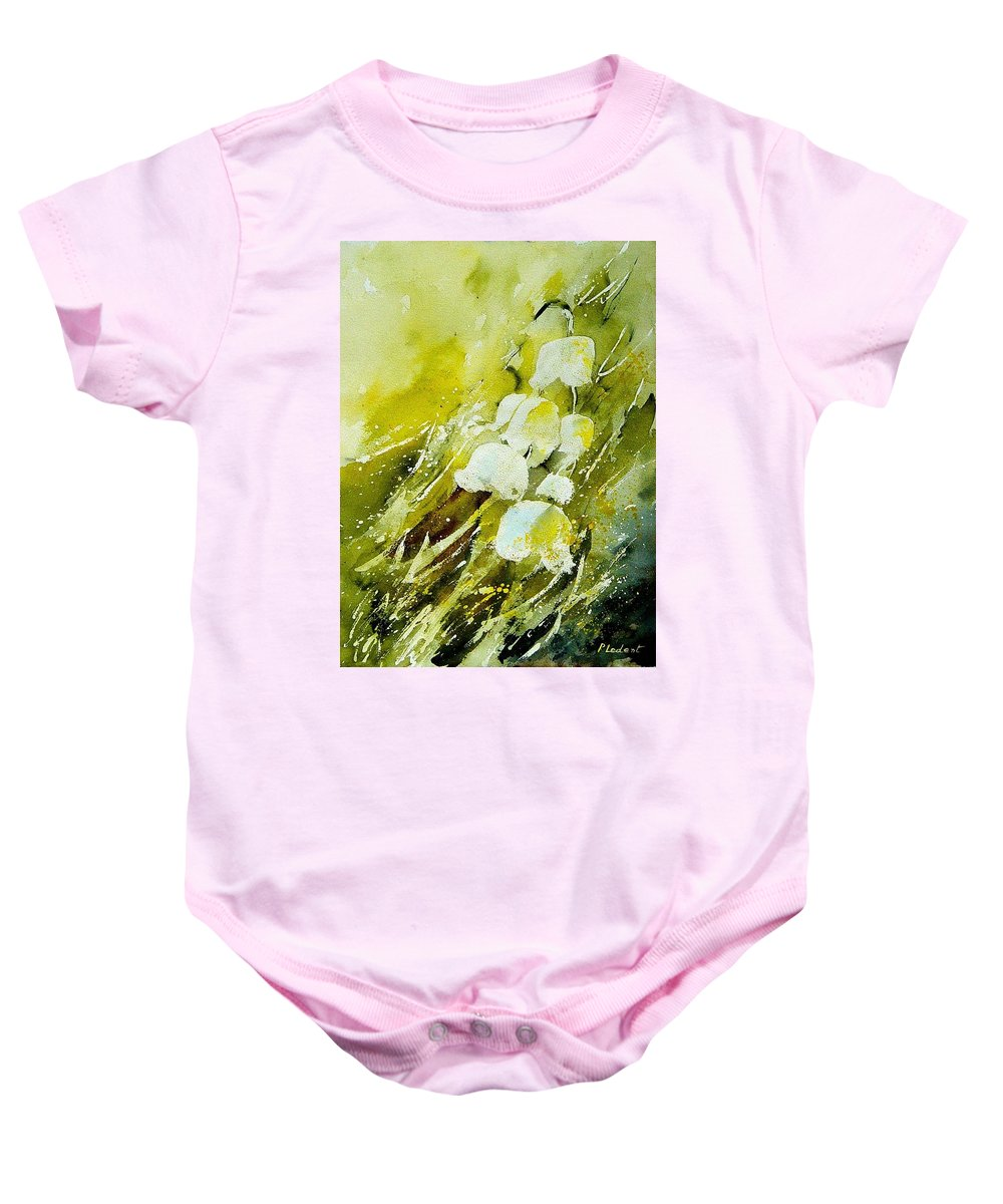 Flowers Baby Onesie featuring the painting Lilly Of The Valley by Pol Ledent