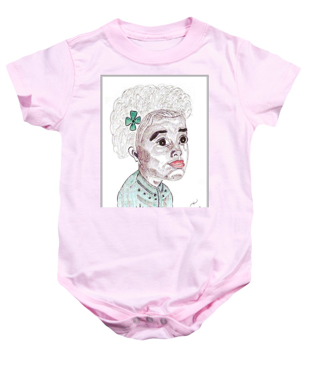 Young Black Girl Baby Onesie featuring the drawing Little Girl With A Green Bow by Anthony Benjamin