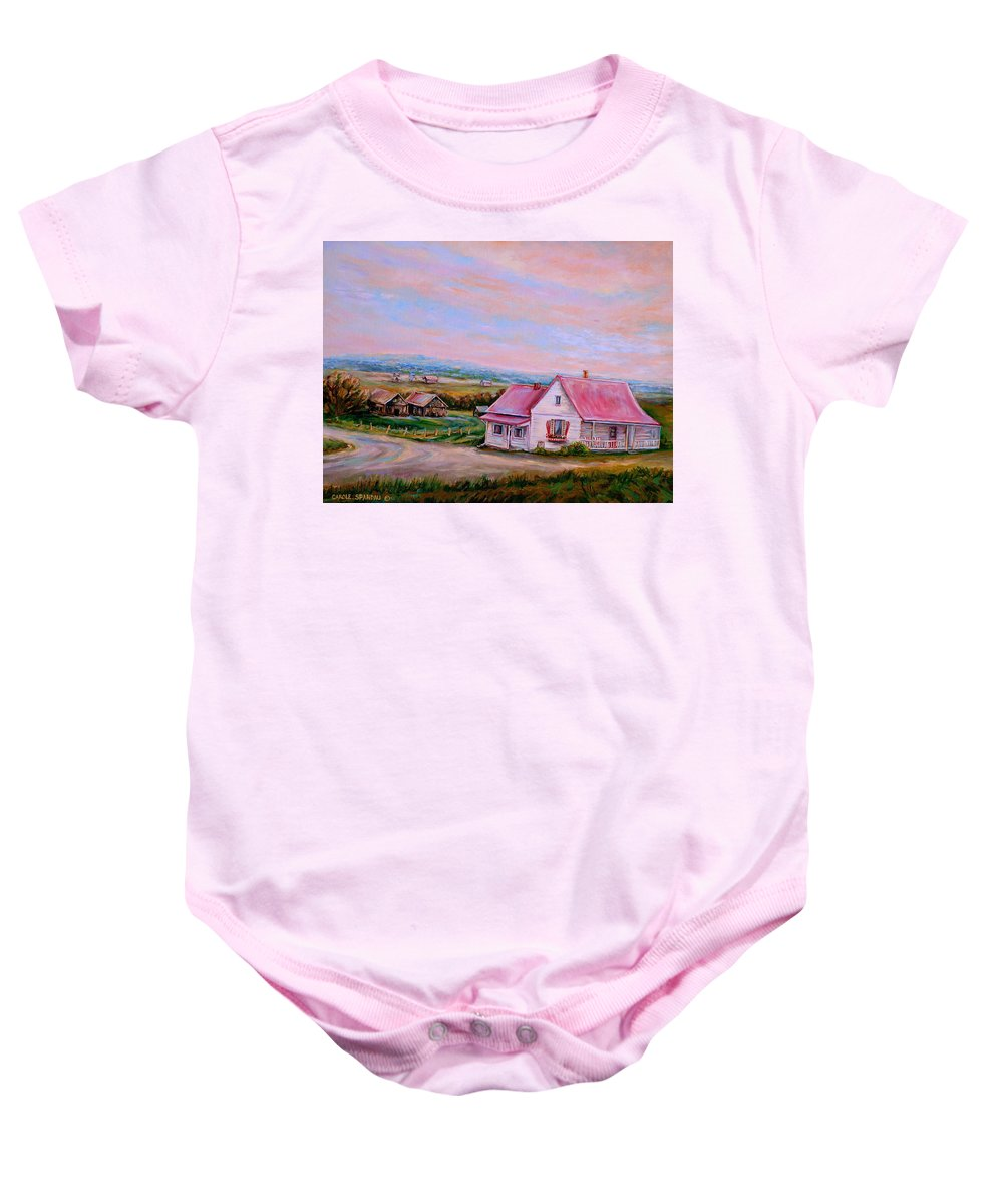 Little Pink Houses Baby Onesie featuring the painting Little Pink Houses by Carole Spandau