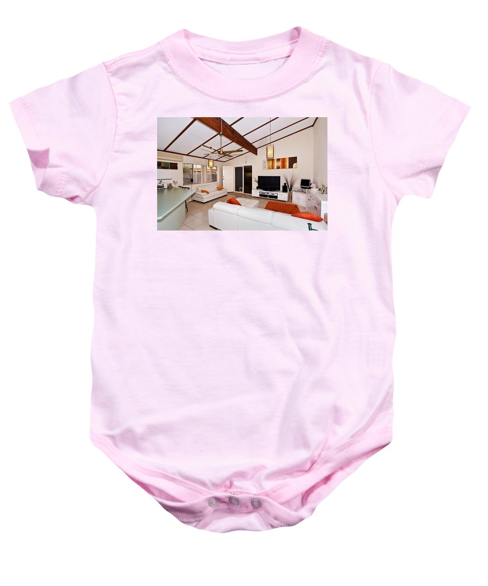 Sloping Baby Onesie featuring the photograph Living Room With Sloping Ceiling by Darren Burton