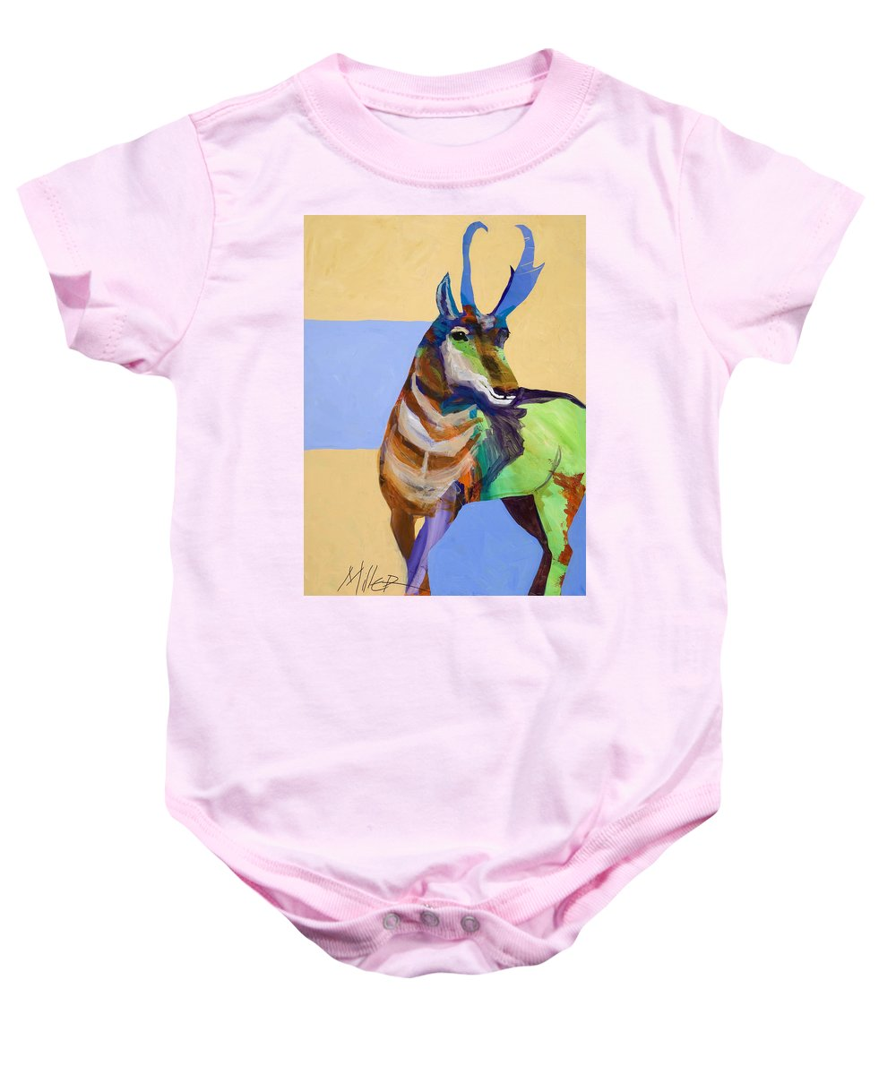 Proghorn Baby Onesie featuring the painting Lone Pronghorn by Tracy Miller