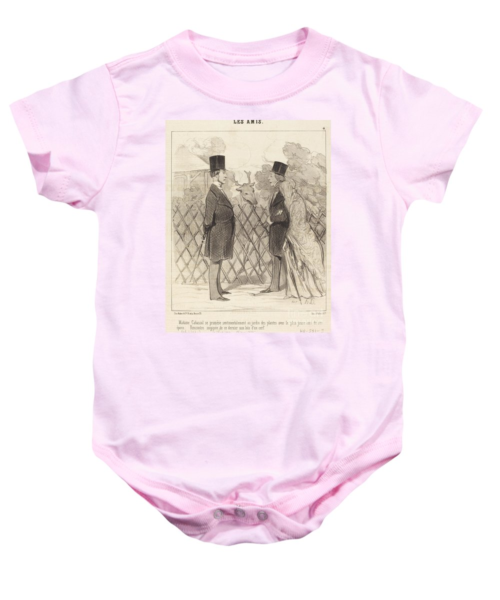 Baby Onesie featuring the drawing Madame Cabassol Se Prom?ne... by Honor? Daumier