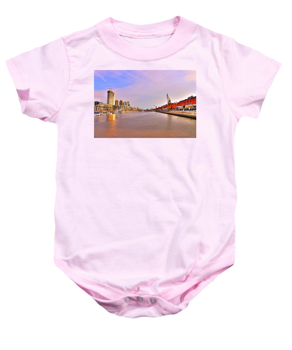 Buenos Baby Onesie featuring the photograph Madero River by Francisco Colon