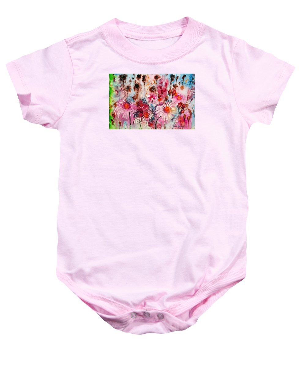 Magenta Baby Onesie featuring the painting Magenta May Flowers by Shirley Sykes Bracken