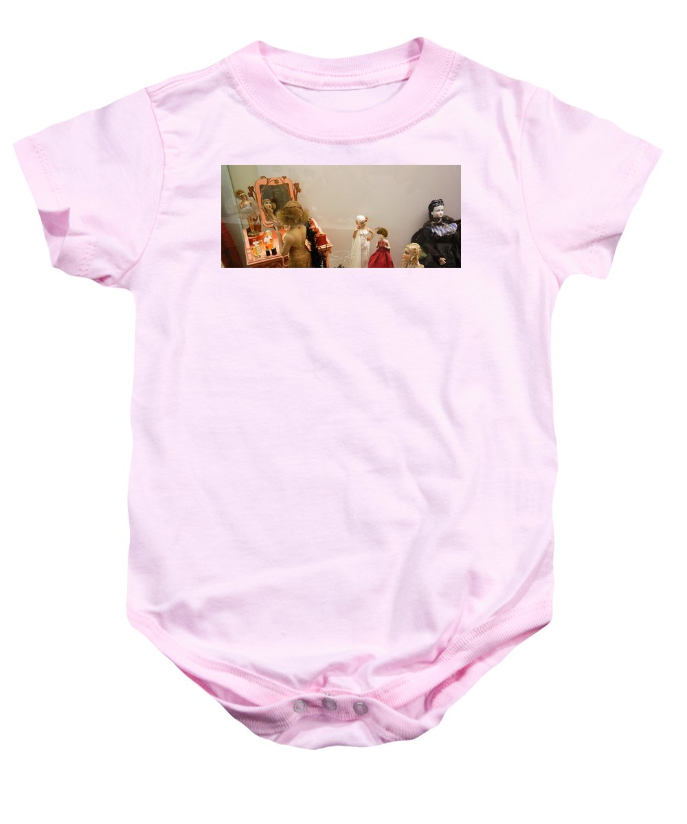 Make-up Baby Onesie featuring the photograph Making Up by Charles Stuart