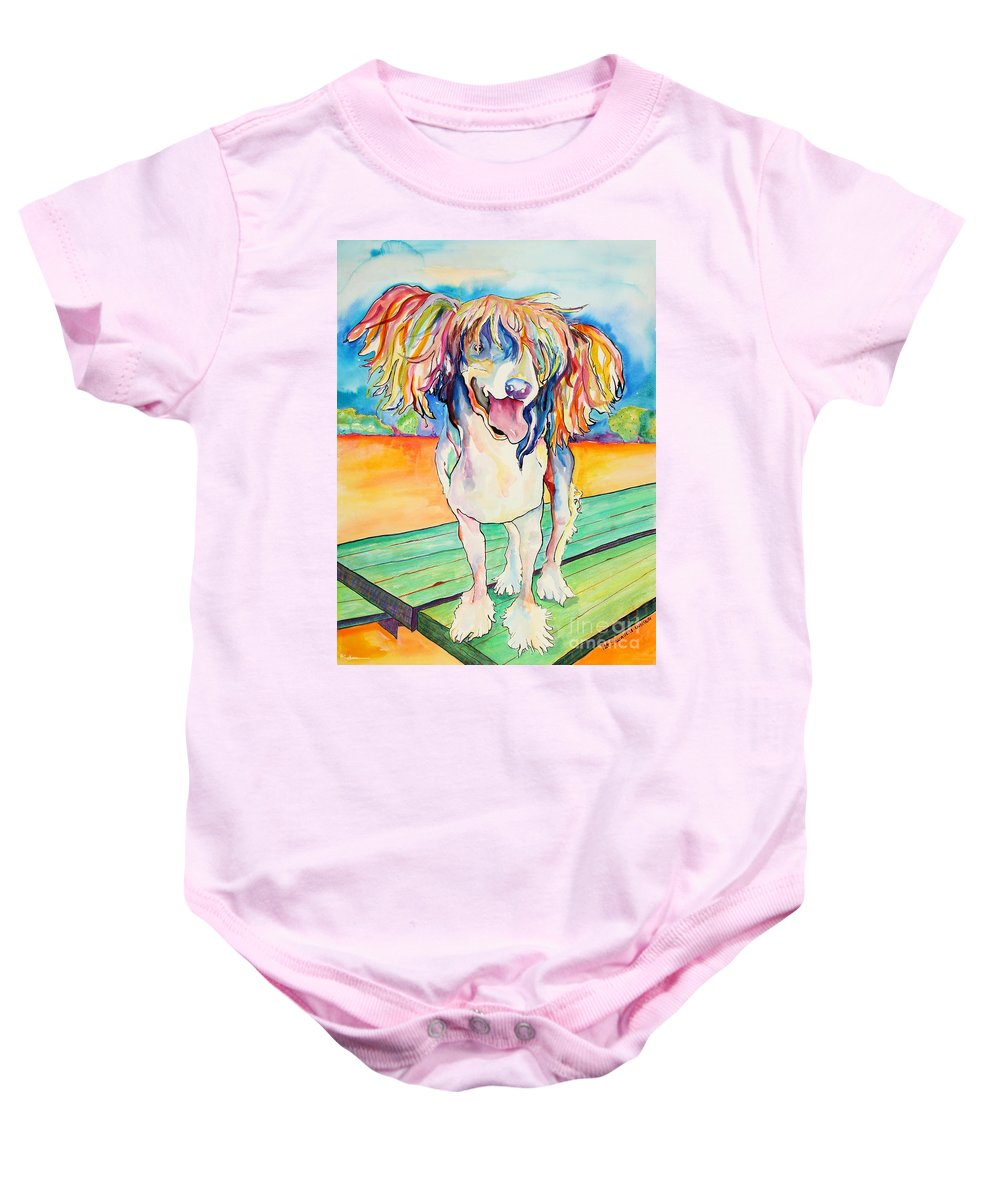 Chinese Crested Baby Onesie featuring the painting Mango Salsa by Pat Saunders-White