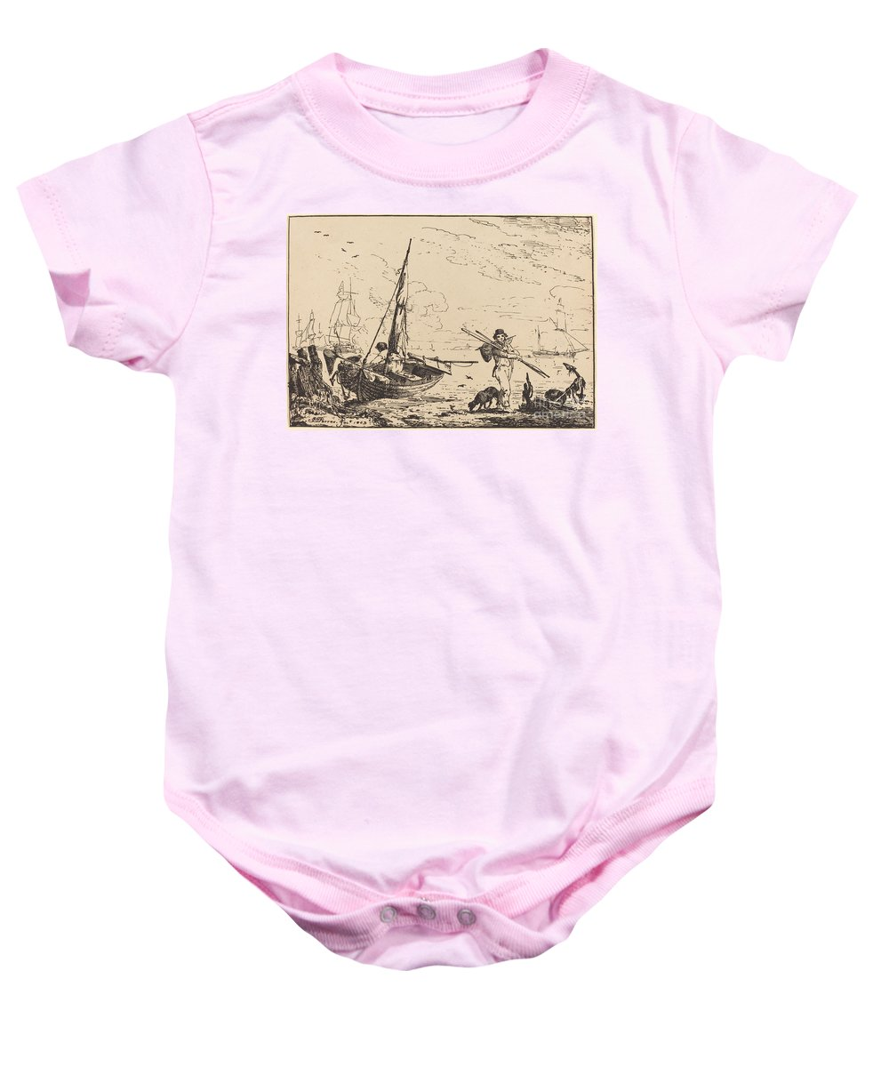 Baby Onesie featuring the drawing Marine: Fishing Boats On Shore, Man With Oars, Ship In Distance by John Thomas Serres