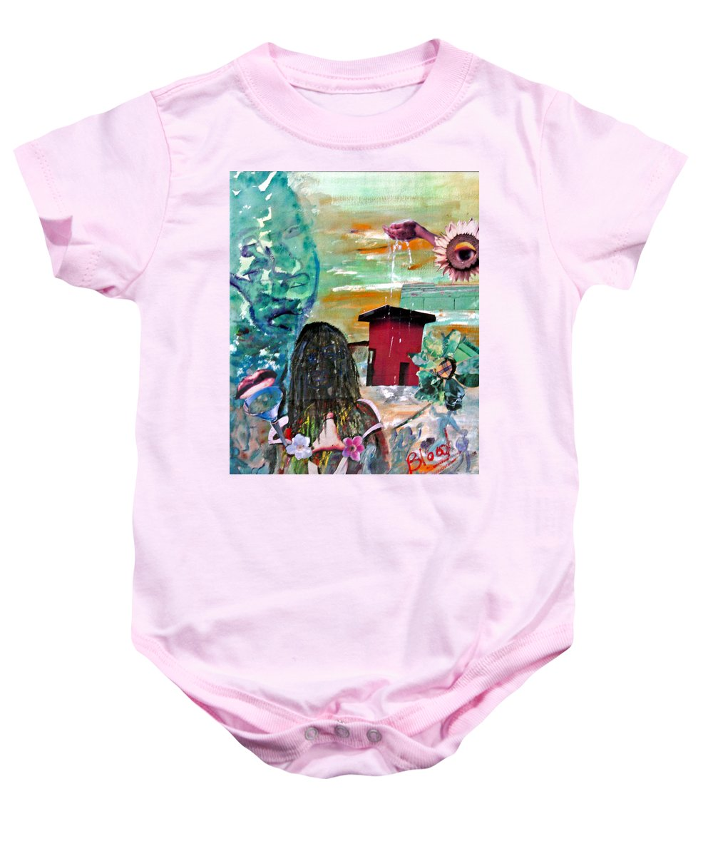 Water Baby Onesie featuring the painting Masks of Life by Peggy Blood