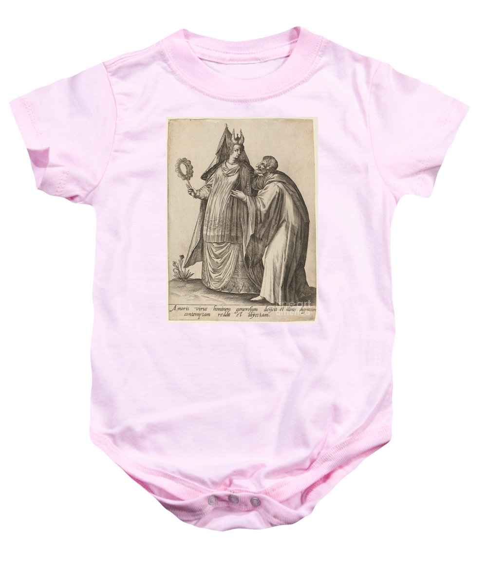 Baby Onesie featuring the drawing Masquerades by Robert Boissard After Jean-jacques Boissard
