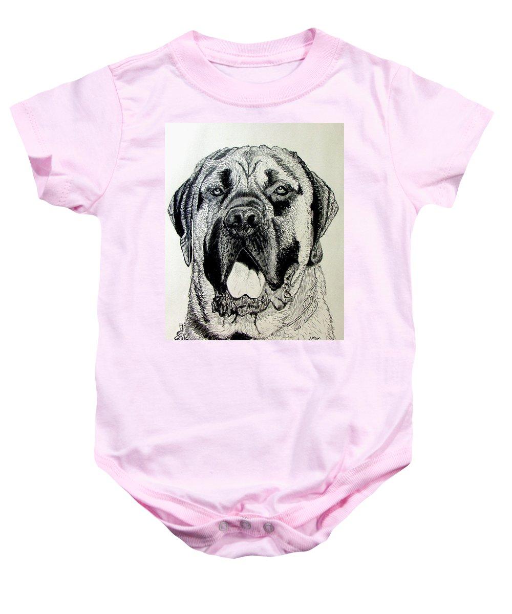 Mastiff Baby Onesie featuring the drawing Mastiff by Stan Hamilton
