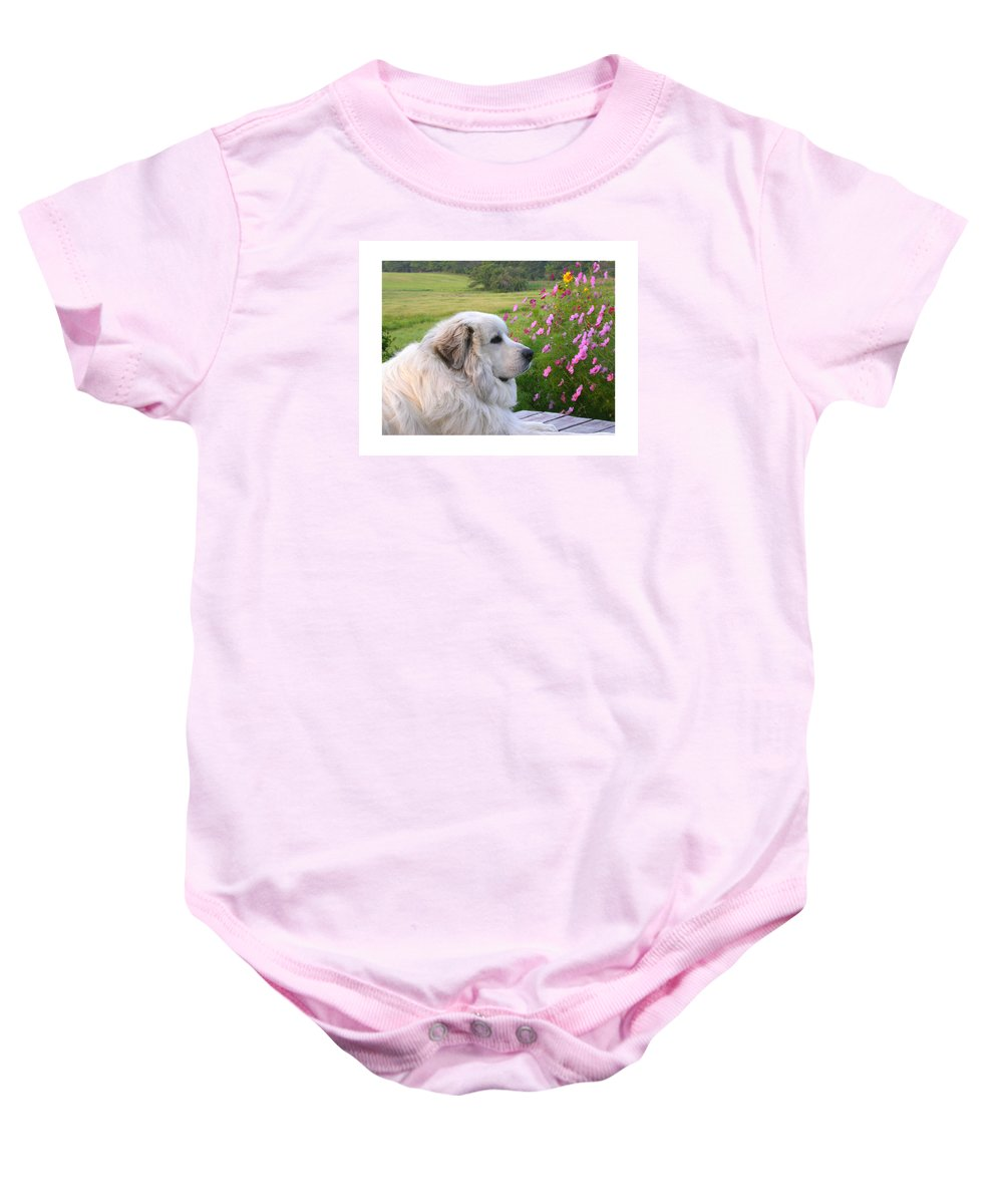 Great Pyrenees Baby Onesie featuring the photograph Maurice by Linda Murphy