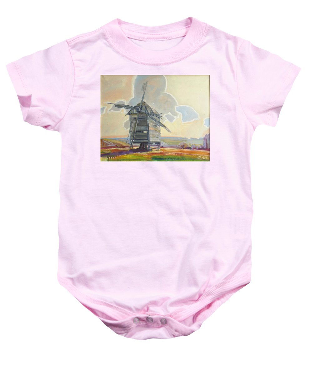 Oil Baby Onesie featuring the painting Mill by Sergey Ignatenko