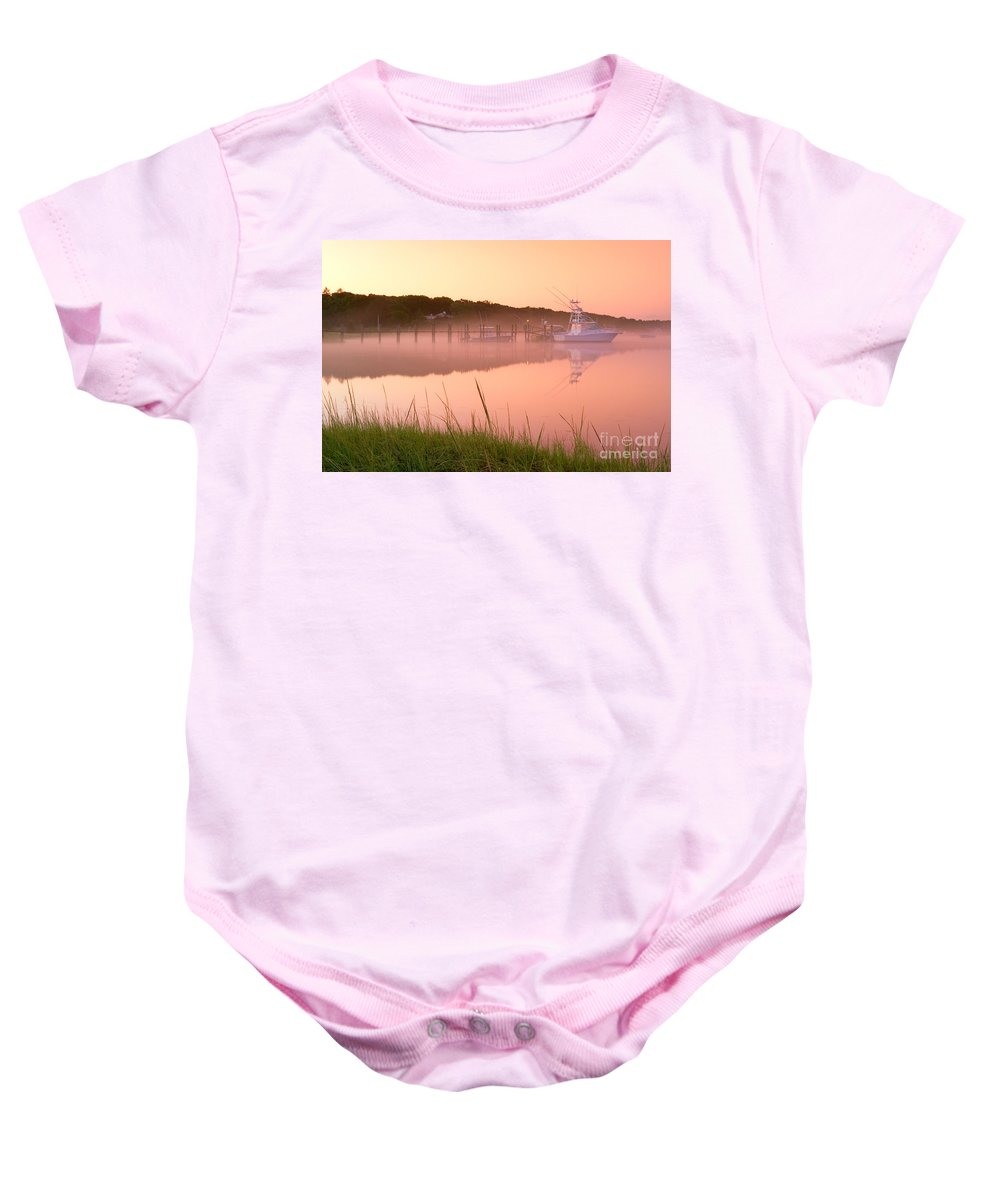Mist Baby Onesie featuring the photograph Misty Morning Osterville Cape Cod by Matt Suess