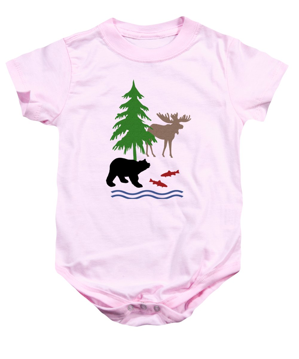 Moose And Bear Baby Onesie featuring the mixed media Moose and Bear Pattern Art by Christina Rollo