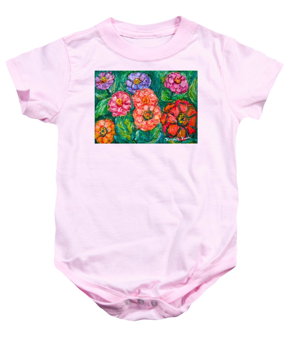 Flowers Baby Onesie featuring the painting More Zinnias by Kendall Kessler