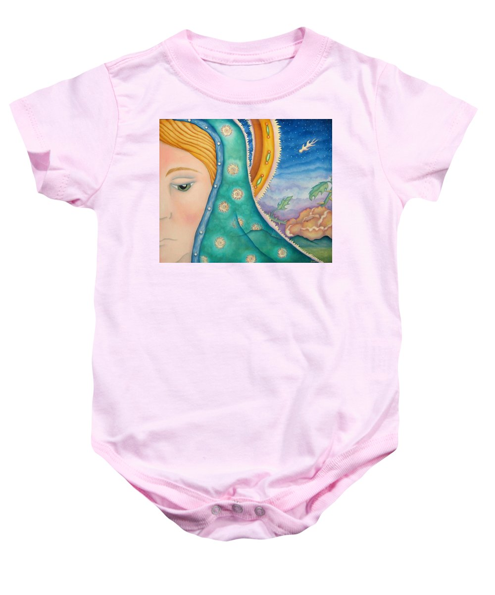 Texas Baby Onesie featuring the painting Mother Of My Soul by Jeniffer Stapher-Thomas