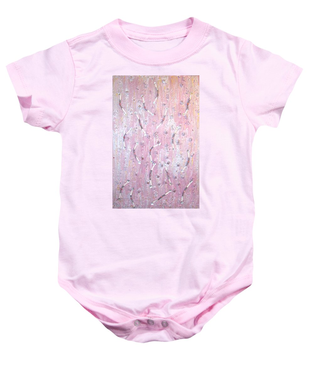 Moveonart! Digital Gallery Baby Onesie featuring the painting Moveonart Music And Art Connection Pink by Jacob Kanduch