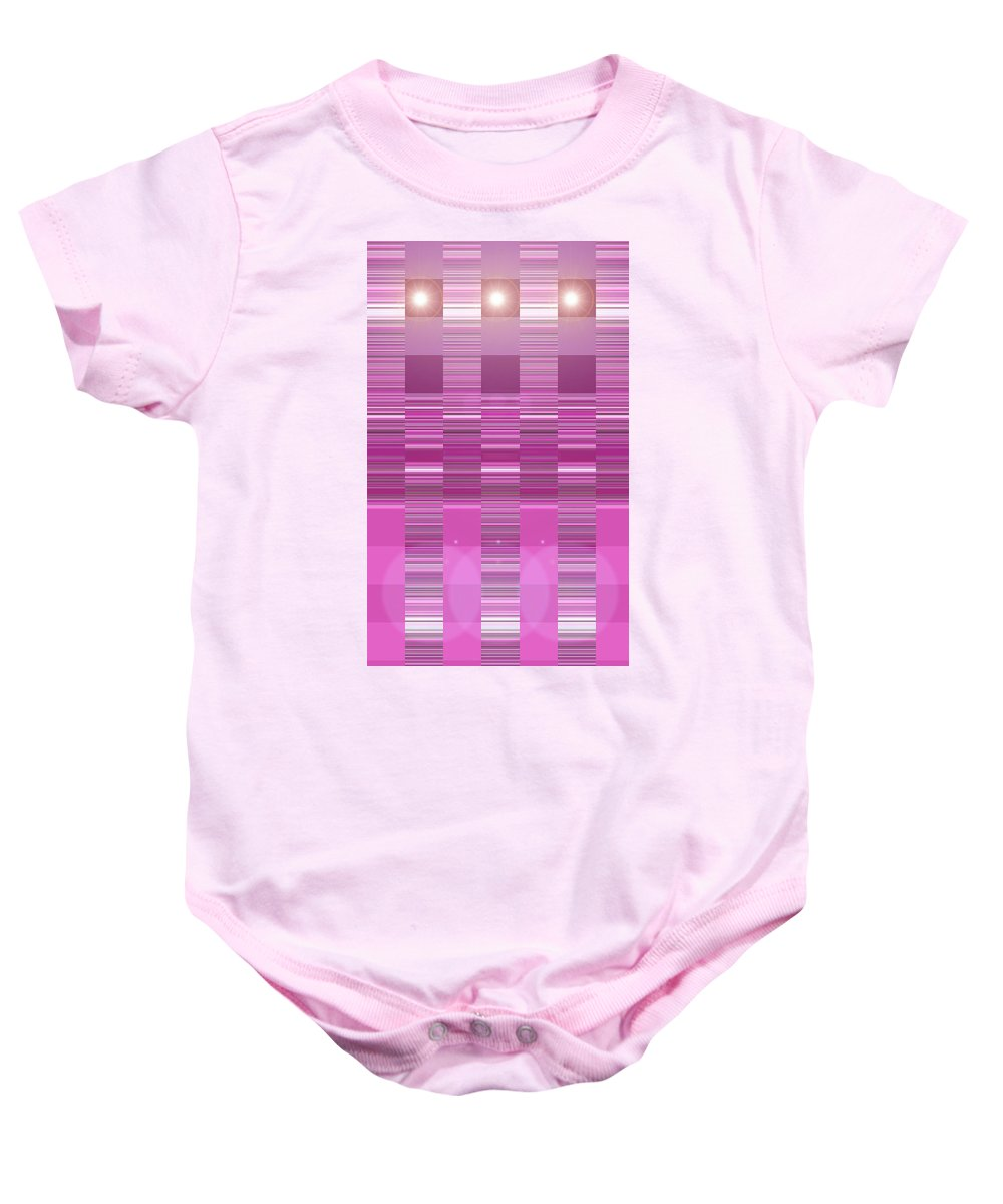 Moveonart! Digital Gallery Baby Onesie featuring the digital art Moveonart Pink Program Three by Jacob Kanduch