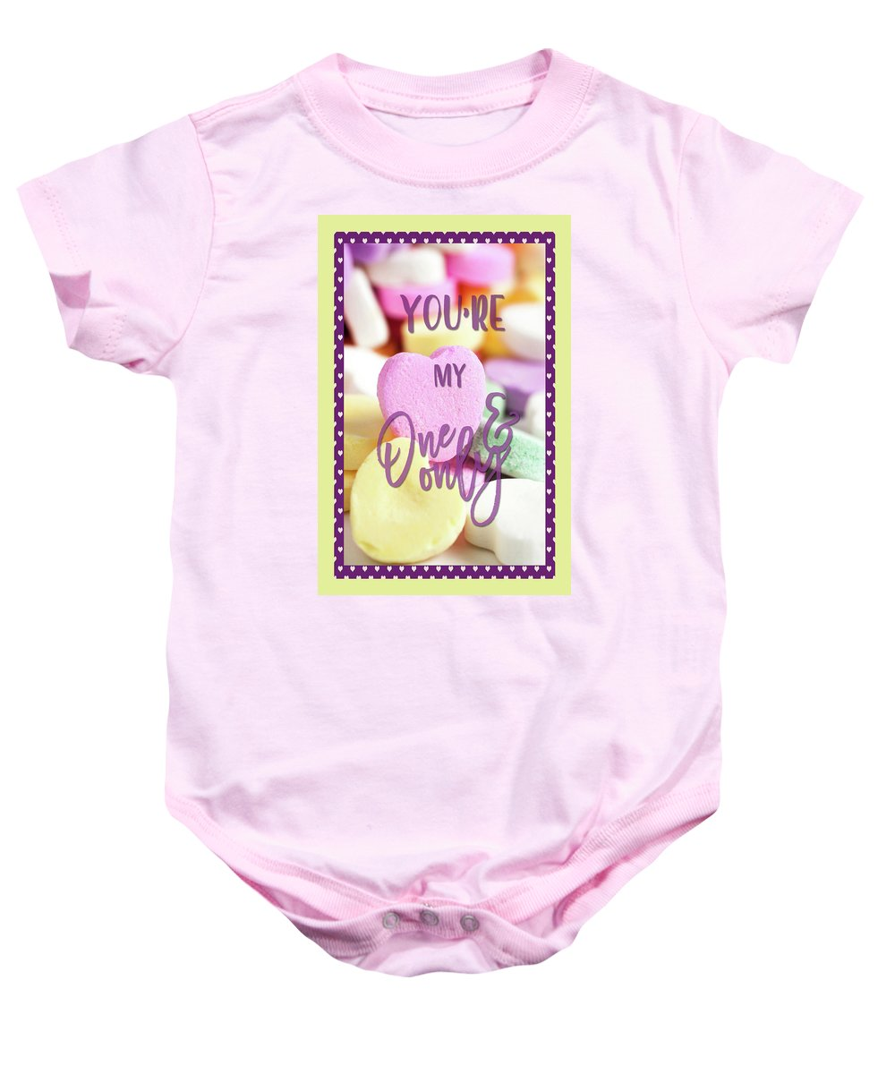 Valentines Card Baby Onesie featuring the digital art My One And Only by HH Photography of Florida