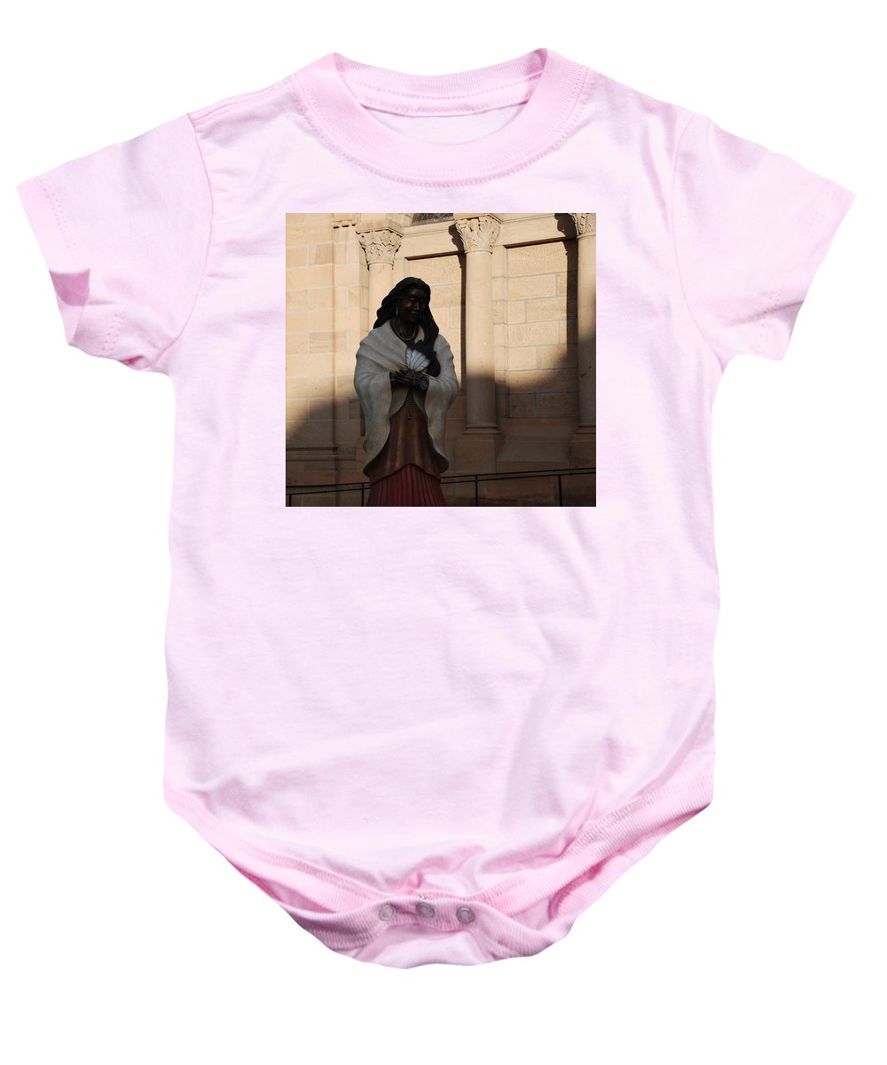 Sculpture Baby Onesie featuring the photograph Native American Saint by Rob Hans