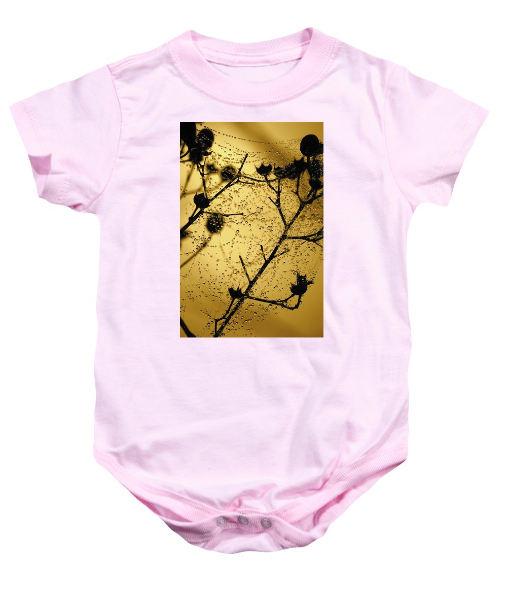 Dewdrops On Spider Web Baby Onesie featuring the photograph Nature's Lace Curtain by Carol Groenen