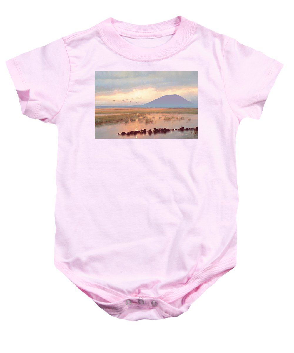 Nephin Mountain Baby Onesie featuring the painting Nephin Dawn by Conor McGuire