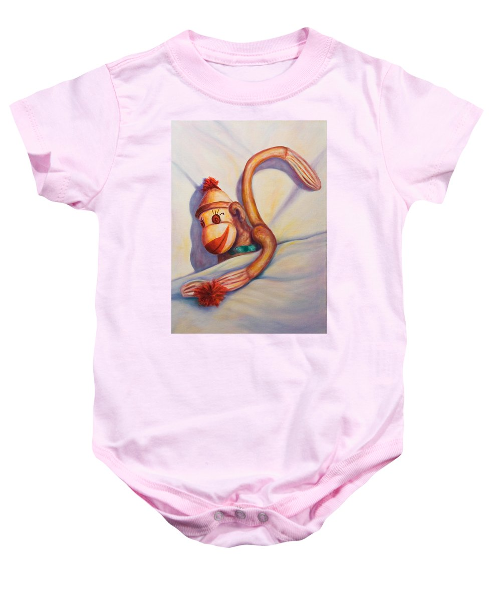 Children Baby Onesie featuring the painting Night Night Sock Monkey by Shannon Grissom