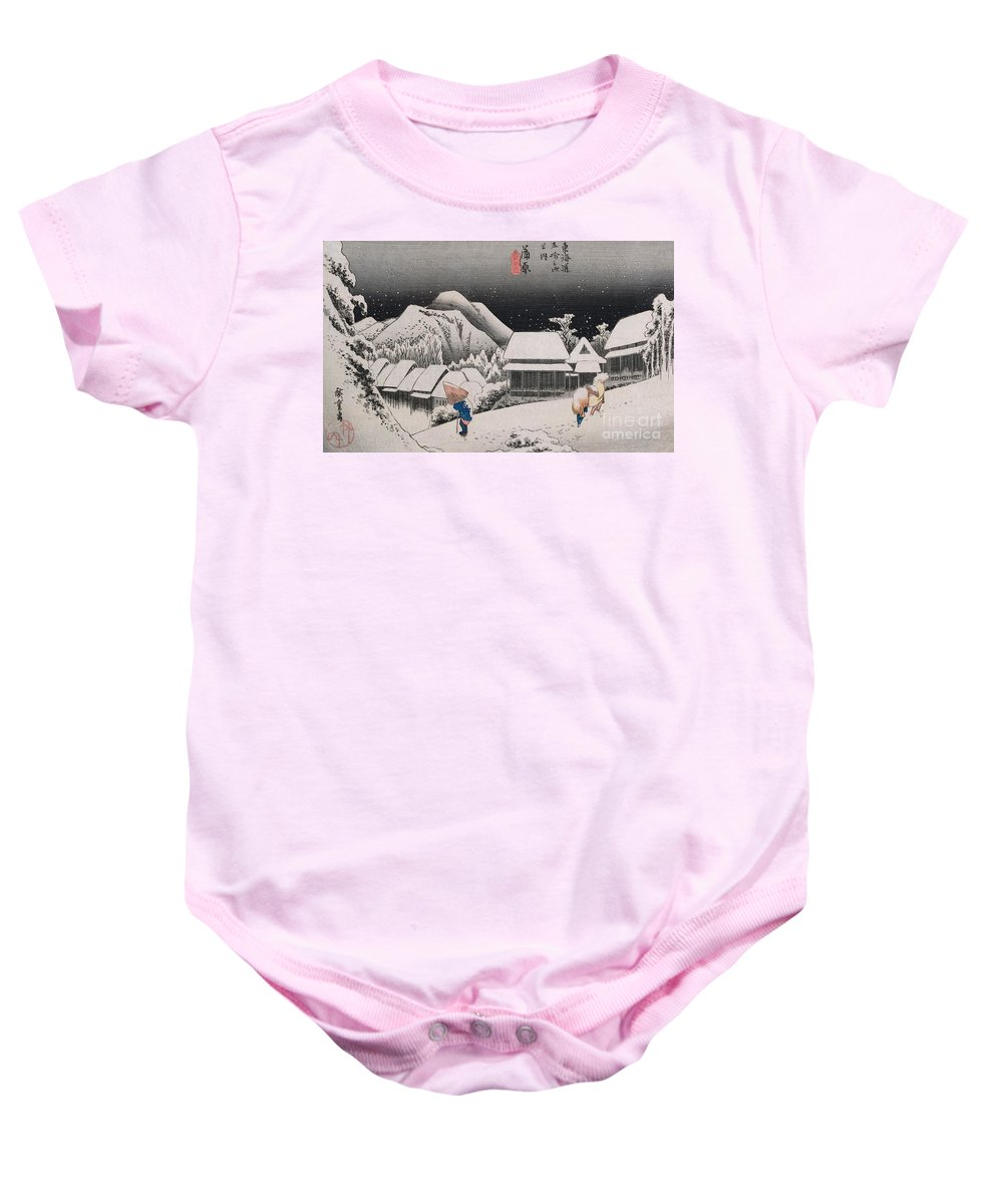 Night Snow Baby Onesie featuring the painting Night Snow by Hiroshige