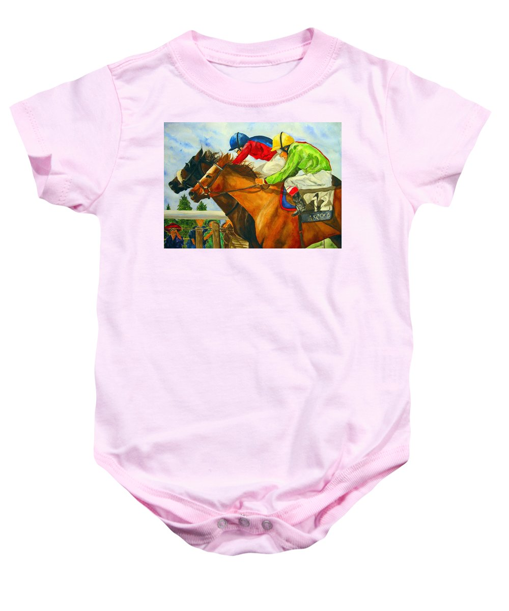 Horse Baby Onesie featuring the painting Nose to Nose by Jean Blackmer