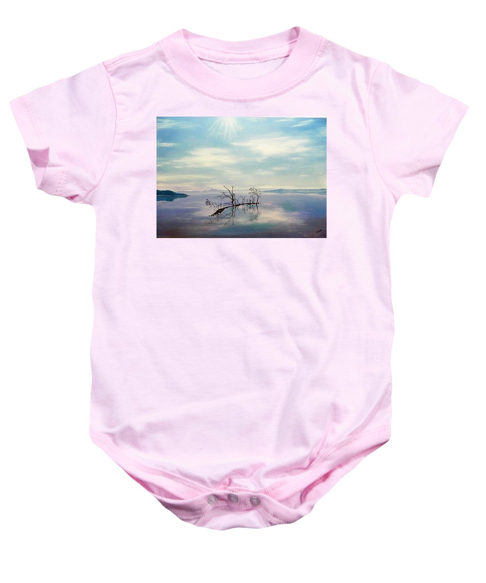 Late Novemeber In Bavaria Baby Onesie featuring the painting November On A Bavarian Lake by Helmut Rottler
